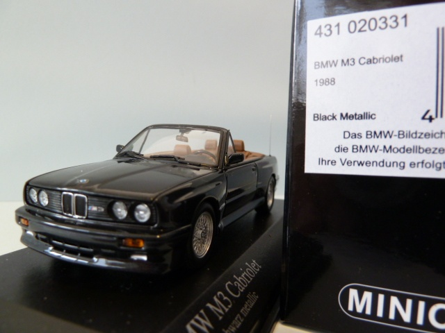 BMW M3 Cabriolet (e30) Diamond Black Met. 1:43 431020331 MINICHAMPS ...
