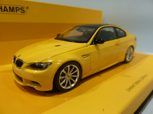 bmw m3 coupe e92 yellow 1 43 436026320 minichamps. Black Bedroom Furniture Sets. Home Design Ideas